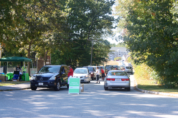 Nearly 600 cars passed through the Wynn School parking lot during last weekend's 6th Annual Zero Waste Day in Tewksbury.