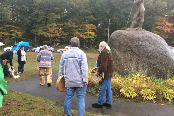 Native Americans gathered for the 25th Anniversary ceremony of the Wamesit Indian statue.