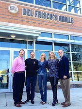 Del Friscos Ceo Mark Mednansky and GM Sabrina Scully stand staff were joined by Southlake Mayor John Terrell at a special sign up rally hosted at Del Friscos Grille in Southlake