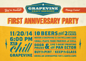 Grapevine Craft Brewery - First Anniversary Party - start Nov 20 2014 0600PM