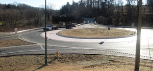 Traffic is flowing again at the new roundabout on Route 52 in Pocopson Township after nearly a year of construction work