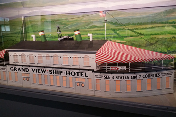 A model of the Ship Hotel, located in the Lincoln Highway Experience Museum, which used to welcome travelers from all around the world. The hotel has since burned down.