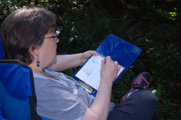 Connie Newby found inspiration for her sketch in a grove of evergreens.