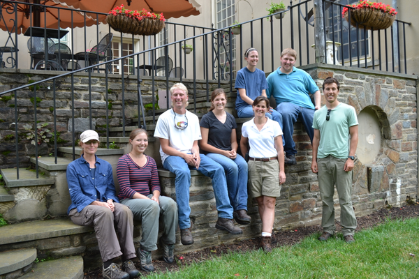 Winterthur Associate Curator Carol Long, fourth from right, with students in the Garden Department's Internship Program.