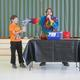 Wyatt Lefebvre enthusiastically helps with an experiment during the Sciencetellers presentation at the North Street School.