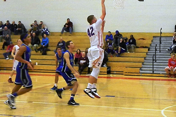 Justin Derrah (42) had 16 points and 11 rebounds against Bedford.