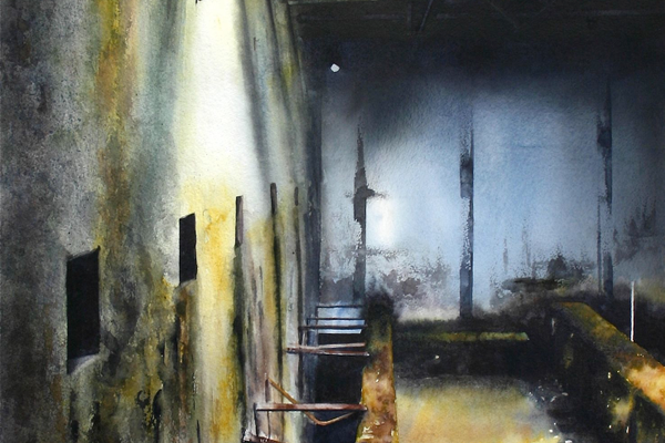 Paintings of abandoned buildings are another facet of Jenkins' art.