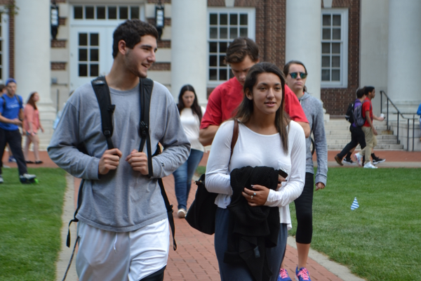 Students traverse The Green between classes.