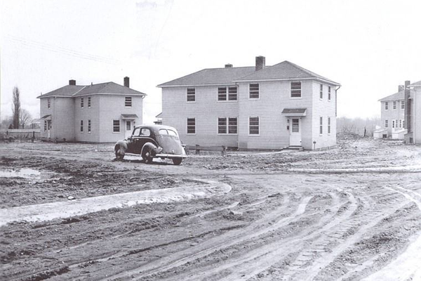 The construction of George Read Village in the early 1940s. Newark High School sits across the street from this scene.