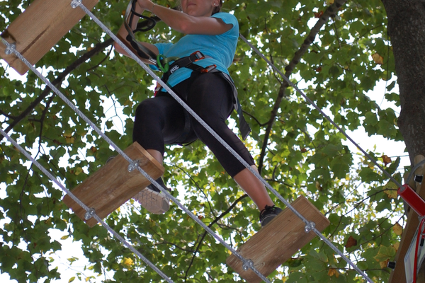 In addition to five zip lines, adventurers also manuever through several obstacles high above the ground.