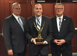 Left to right Chester County Detective Sergeant Robert J Dougherty Chester County District Attorney Tom Hogan and Jeremiah A Daley Executive Director of Philadelphia-Camden HIDTA