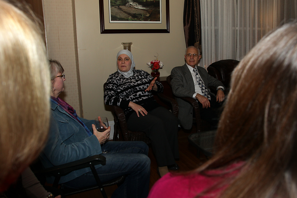 Zokaa Rajjoub and her husband, Dr. Rodwan Rajjoub, guests at a monthly WAWHO meeting, share their personal experiences with the plight of Syrian refugees. Dr. Rajjoub annually volunteers to provide medical care in the Middle East through SAMS, the Syrian American Medical Society.