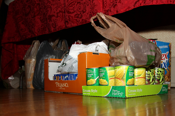 Some of the canned goods donated monthly for the food bank by WAWHO members. In the first four years of their existence, the WAWHOs have donated over one ton of food for needy families.