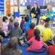 Nicole Broderick and Anthony Miano read One Fish, Two Fish, Red Fish, Blue Fish to Ms. Gillotte's kindergarten class.