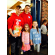 Vinny Ianacci and Brendan O;Connor read to Mrs. Hirtle's first grade class. Abigail Downing and Tessa Borowski pose for a photo.