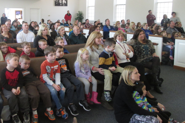 A large crowd packed the Church of the Nazarene in West Grove on Monday morning for the surprise announcement.