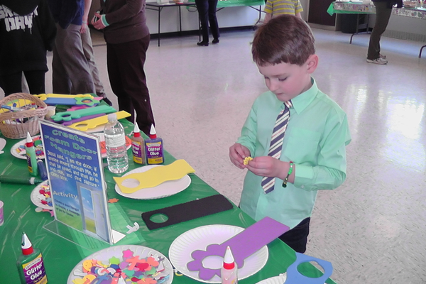Owen Eves enjoyed creating a craft during the Meet the Easter Bunny event.