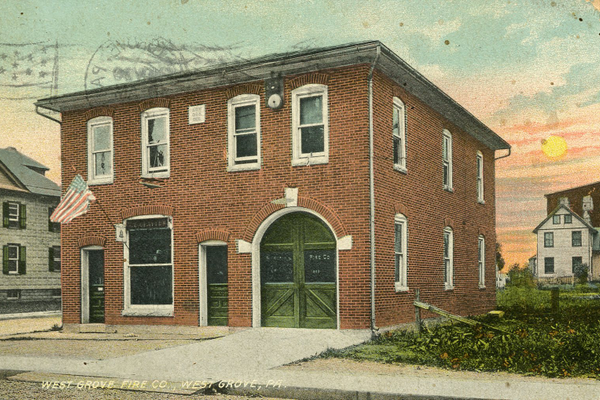 The West Grove firehouse in 1920.