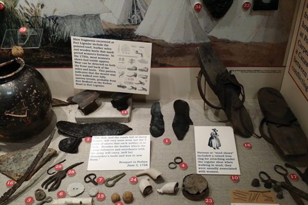 Historical artifacts recovered at Fort Ligonier