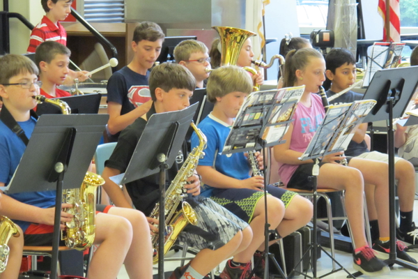 Ryan School fifth and six grade band students perform at the North Street School this week.