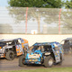 IMCA Modifieds of Aaron Muhle, Mike Mueller #3, and Frank Firari #27 photo by: Larry Douma - Leader Photography