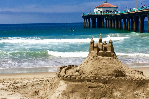 A castle stands tall in the MB Sand Castle competition.