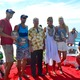 2014 AVP Manhattan Beach Open champs Phil Dalhausser, Sean Rosenthal, April Ross, and Kerri Walsh Jennings with Manhattan Beach Mayor Mark Burton