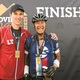 Nick left and Vince Schino are all smiles after finishing the Leadville Trail 100 bike race for the second straight year in Leadville Colorado on Aug 15 2015 Nick was able to present his father with his medal after finishing