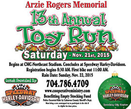 Arzie Rogers Memorial 13th Annual Toy Run - start Nov 21 2015 0830AM