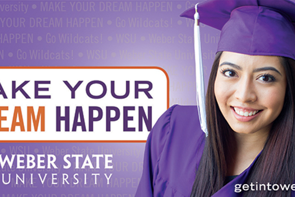 Weber State used Amina Kahn's picture to create this bus ad, seen here without a hole for the license plate.