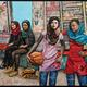 "American Schoolgirls III, mixed media collage & acrylic paint 60"" by 72"""