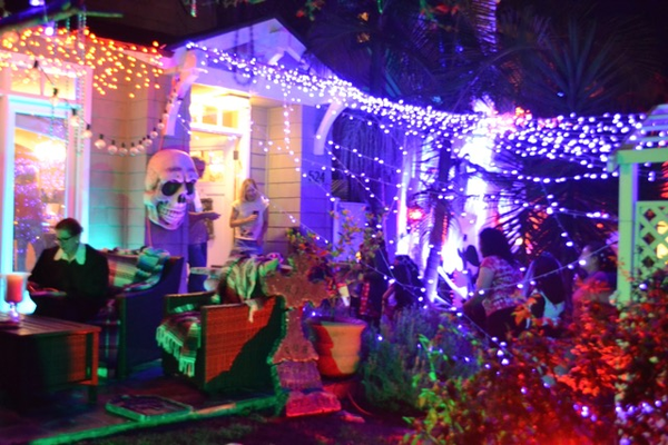 A walk street house in top Halloween form