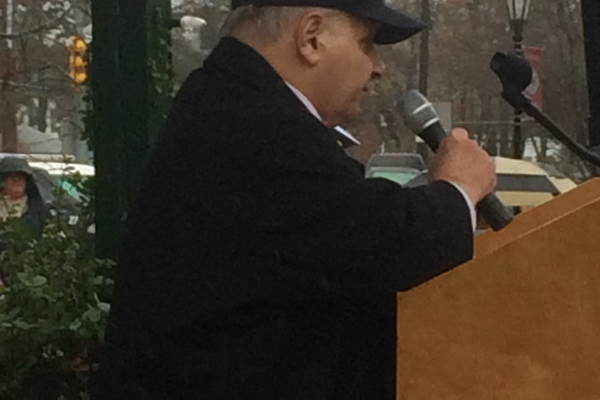 State Rep. Jim Miceli speaks at 2015 Veterans Day Ceremony on the Town Common.