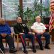 (L-R): U.S.N. WWII veteran Benjamin Stratman, Marine Lt. Col, Jason Borovies, and Vietnam veteram Jim Hastings, chair of the Memorial Day & Veterans Day Committee