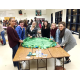 Union Mine High School students and Herbert Middle School students as well as Hands4Hope School Club participants create one of the many no-sew fleece blankets.  Left to Right names: Gabby (Herbert Green), Gretta (Union Mine, foreign exchange student from Italy), Nadia (Union Mine), Abby (Herbert Green) , Lauren (Union Mine), and Francesca (Union Mine).