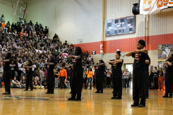 Step team at the Osseo Senior High Sno-Daze Pepfest 2016