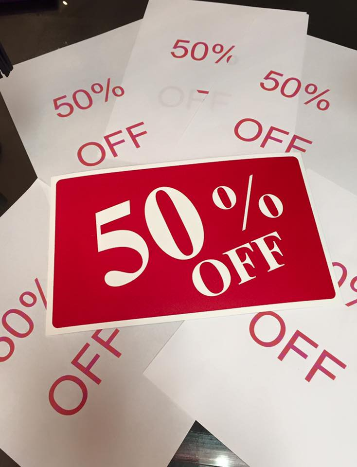 50percent off sign