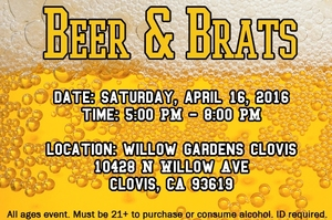 Beer and Brats - start Apr 16 2016 0500PM