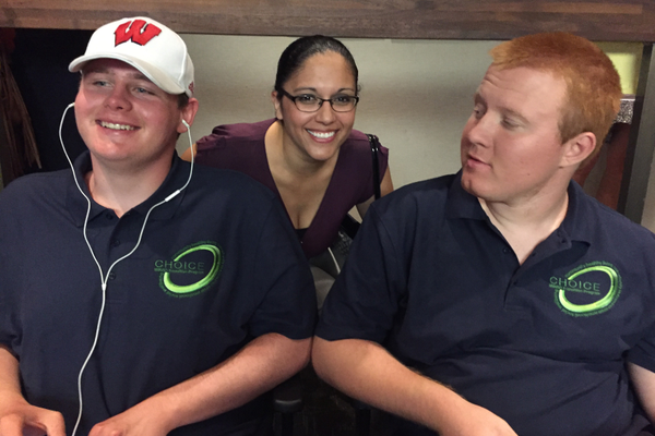 CHOICE students Jack and Anthony, with CHOICE instructor Lareina Rodriguez at an MB City Council meeting