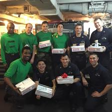 Soldiers onboard USS John C Stennis CVN 74 receiving their care packages image courtesy of Operation Gratitudes Facebook page
