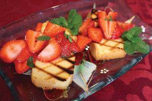 Grilled Pound Cake with Lime-Mint Infused Strawberries
