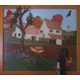 This farm scene was created with one large burned-wood panel and an overlay of a 3-D pump in the foreground.
