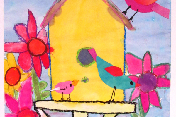 A happy birdhouse scene by Dakota Summers of Nottingham Elementary School.