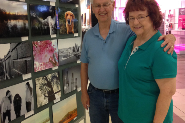 Lance and Louvoe Linton enjoy art on their walk through Fashion Place Mall.  —Alisha Soeken