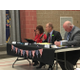 Dirk Timothy, Bluffdale mayor; Mike Anderson, area superintendent for Jordan School District; and Karen Egan, principal, judge Bluffdale Elementary School's We the People speech competition. – Tori La Rue