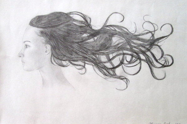 The detail of the hair in this drawing was accomplished when Curl was in eighth grade.
