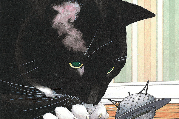 Illustration for 'Mr. Wuffles!' by David Wiesner (Clarion Books, 2013)