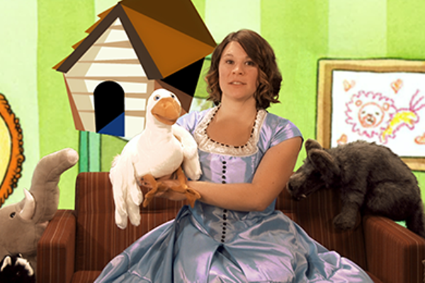 Stephanie Anderson, youth services librarian for Salt Lake County Library Services, plays the part of Little Miss Puppet in the library's virtual story time. – Salt Lake County Library Services