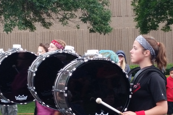 Maple Grove High School Marching Band at the 2016 Maple Grove Days Pierre Bottineau Parade along 89th Avenue Thursday, July 14