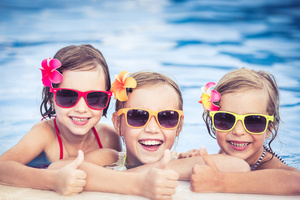 Medium kids in the pool